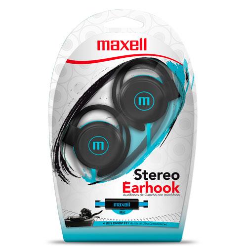 Auricular-Stereo-Earhook,-enganche-con-mic-azul
