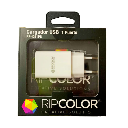 CARGADOR USB 1 PUERTO RIPCOLOR  (I021PB)